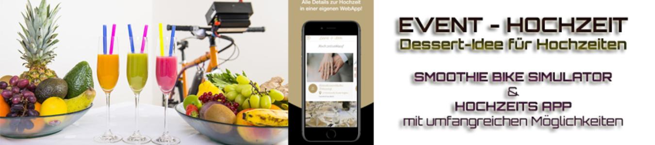 EVENT HOCHZEIT Dessert-Idee für Hochzeiten mit unserem SMOOTHIE BIKE SIMULATOR und einer indviduellen HOCHZEITS APP mit umfangreichen Möglichkeiten by https://www.vrproject.de/apps/